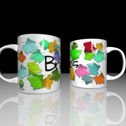 Mug with coloured leaves -...
