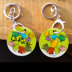Keychain - colored leaves -...