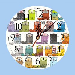 Clock Colorful Cats