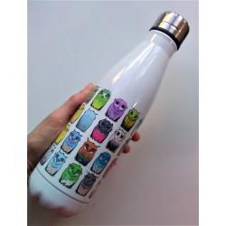 Botella búhos de colores