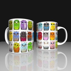 Mug colorful owls
